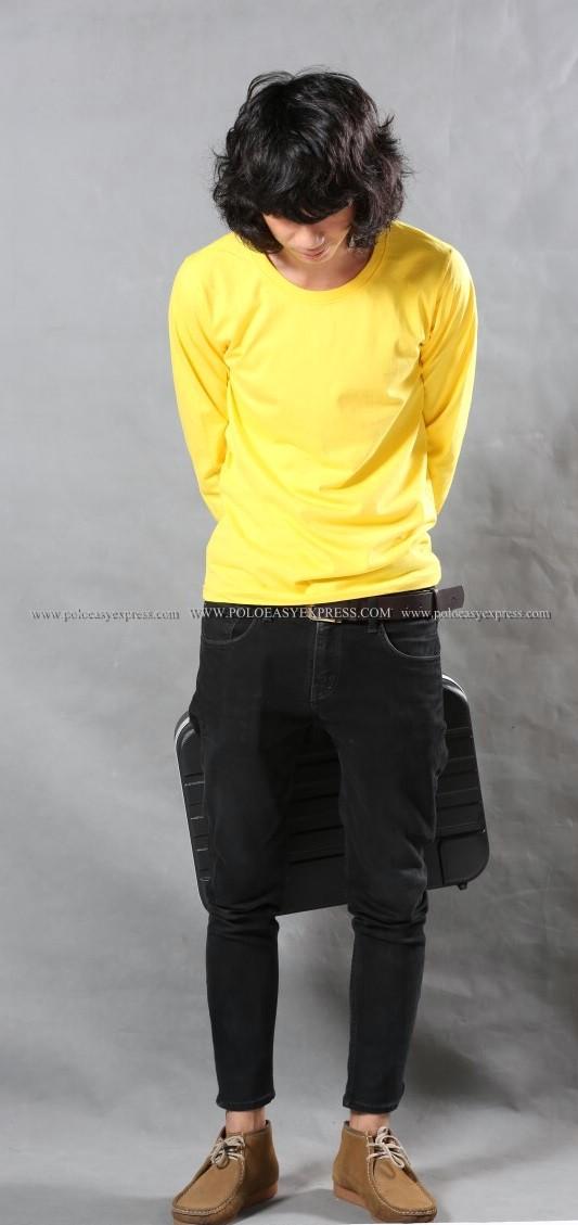 เสื้อยืด สีเหลือง คอกลม แขนยาว Size 4XL