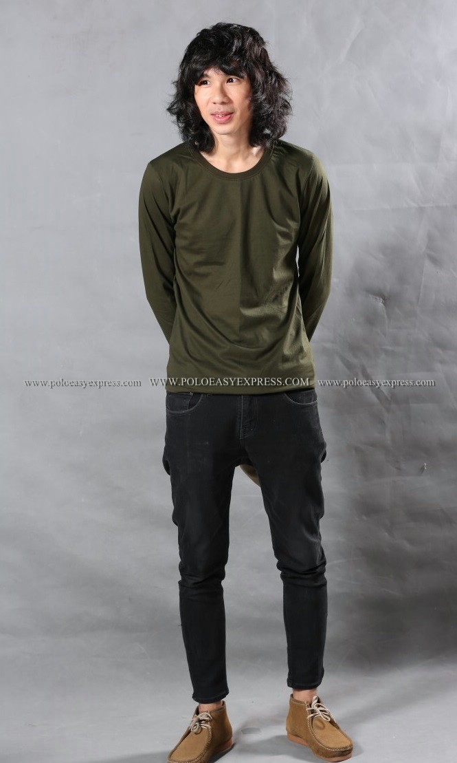 เสื้อยืด สีเขียวขี้ม้า คอกลม แขนยาว Size 3XL สำเนา