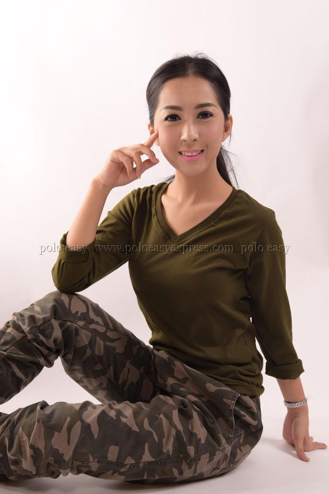 เสื้อยืด สีเขียวขี้ม้า คอวี แขนยาว Size 4XL สำเนา