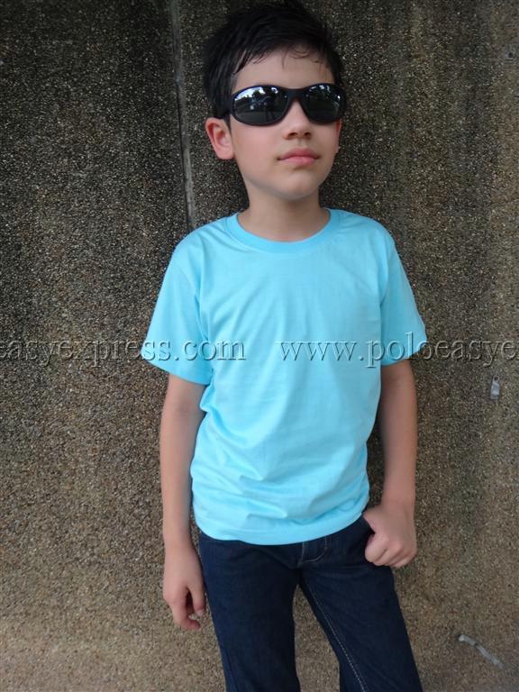เสื้อยืดเด็ก สีฟ้าอ่อน คอกลม แขนสั้น Size M