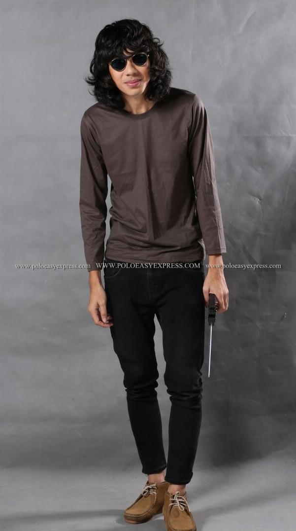 เสื้อยืด สีเทาเข้ม คอกลม แขนยาว Size L