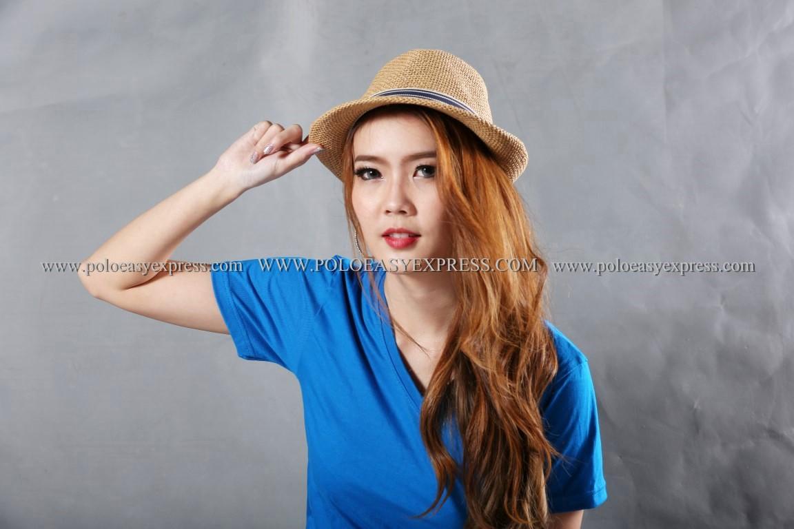 M เสื้อยืด สีฟ้าทะเล คอวี แขนสั้น Size M