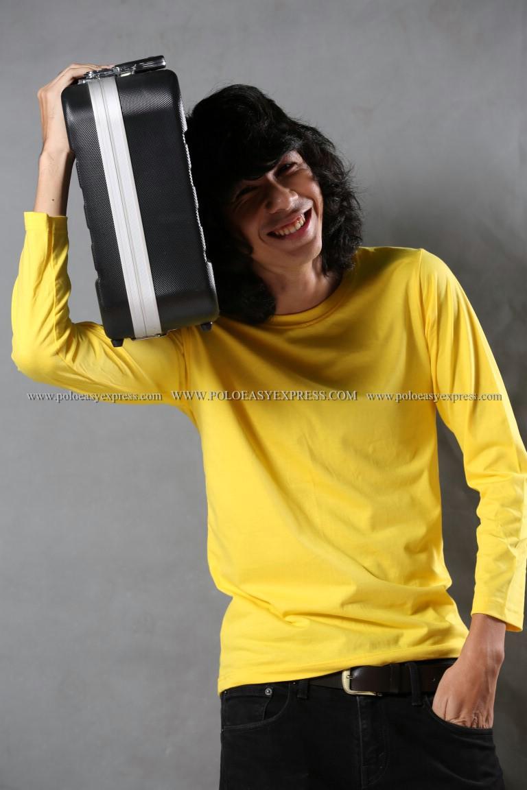 เสื้อยืด สีเหลือง คอกลม แขนยาว Size 3XL