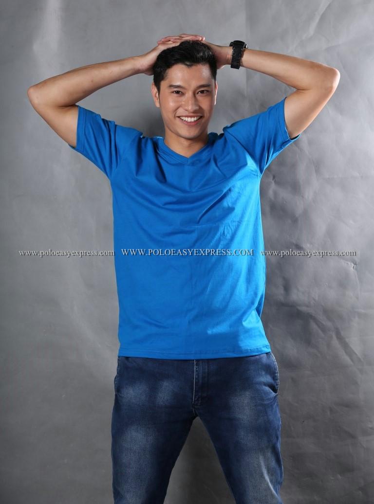 XL เสื้อยืด สีฟ้าทะเล คอวี แขนสั้น Size XL