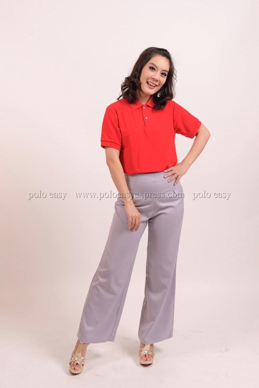 เสื้อโปโล สีแดง TK Premium แขนสั้น ทรงเว้า (หญิง) Size 4XL