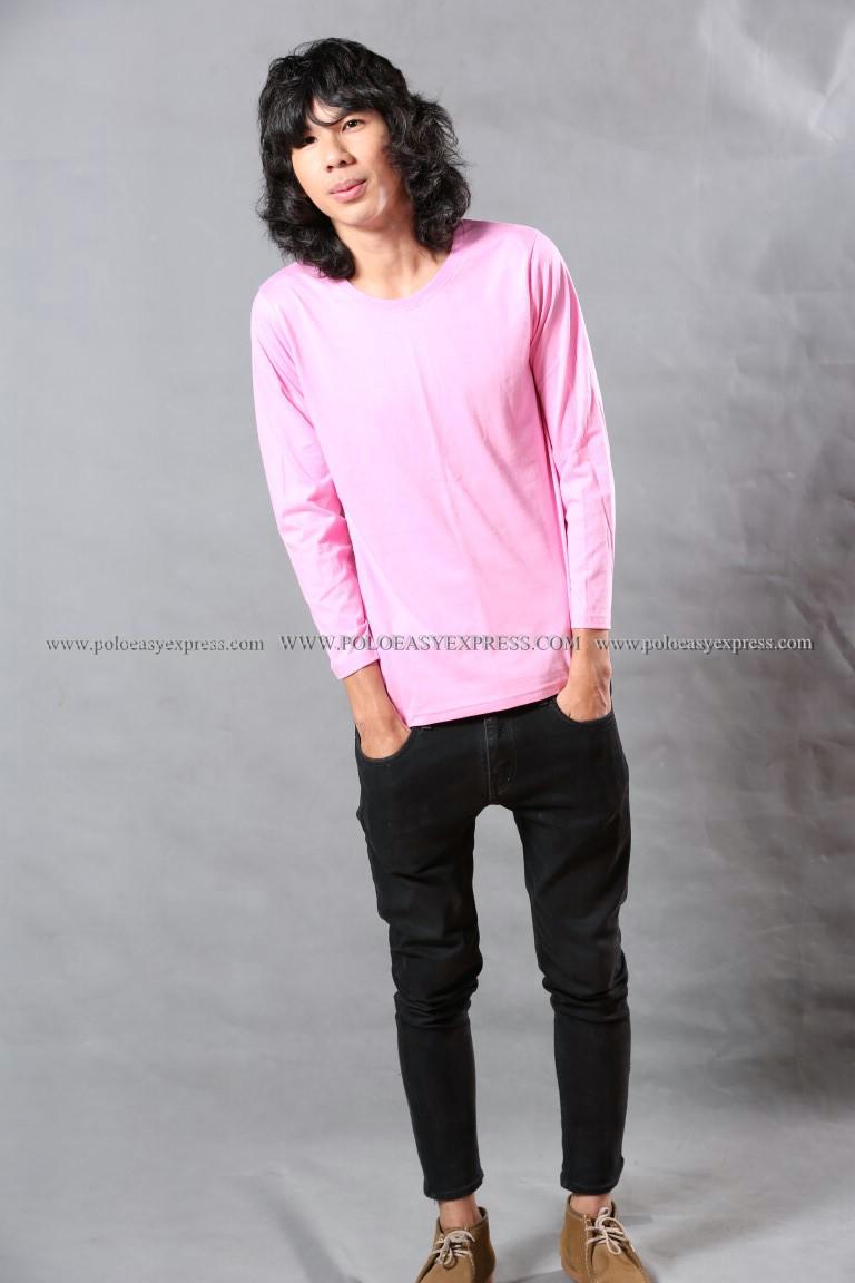 เสื้อยืด สีชมพูอ่อน คอกลม แขนยาว Size 3XL สำเนา