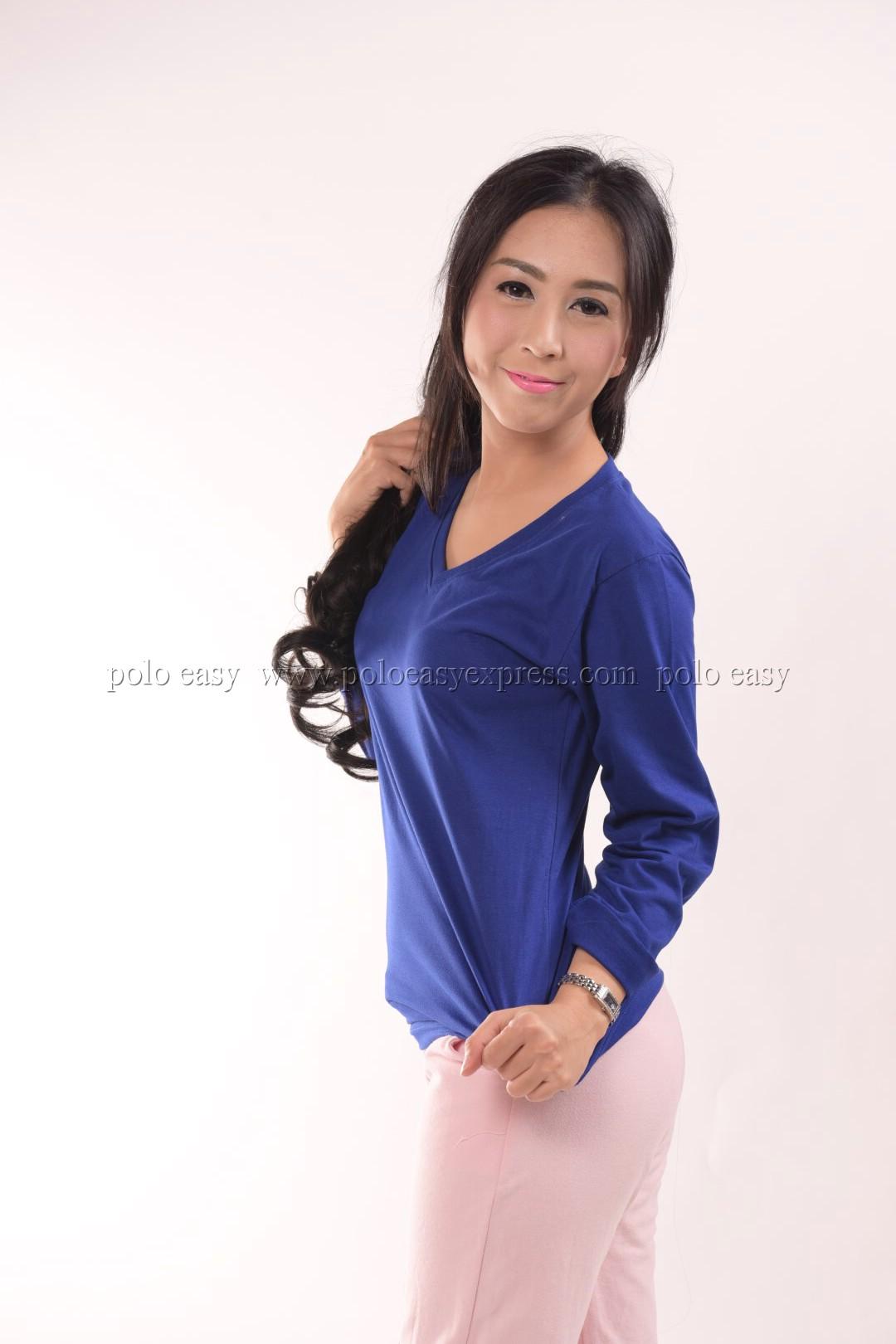เสื้อยืด สีน้ำเงิน คอวี แขนยาว Size 2XL