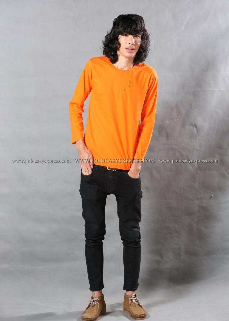 เสื้อยืด สีส้ม คอกลม แขนยาว Size XL