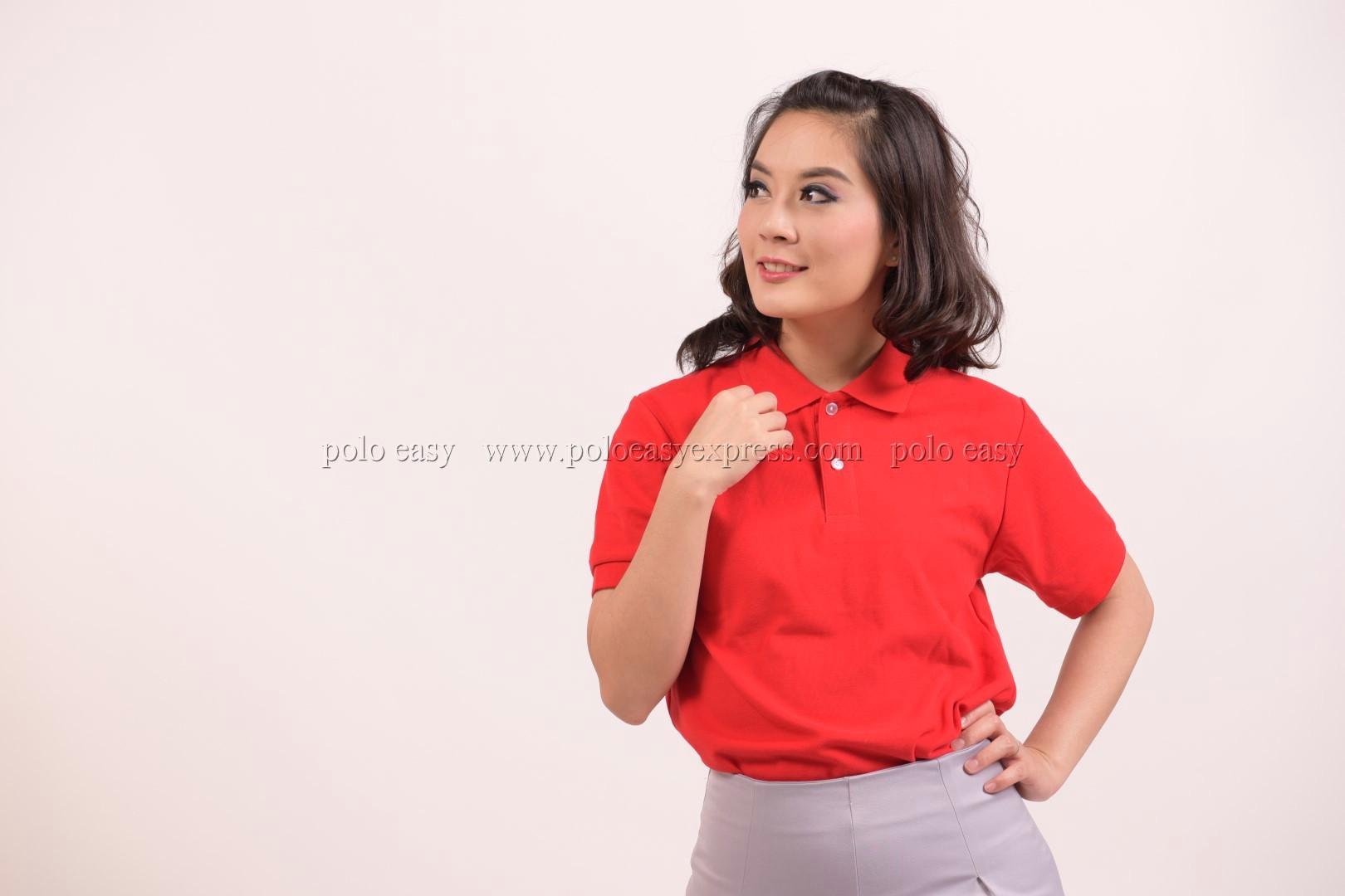 เสื้อโปโล สีแดง TK Premium แขนสั้น ทรงเว้า (หญิง) Size 2XL