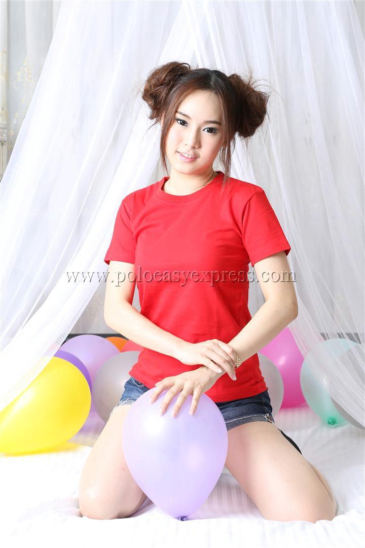 4XL เสื้อยืด สีแดง คอกลม แขนสั้น Size 4XL
