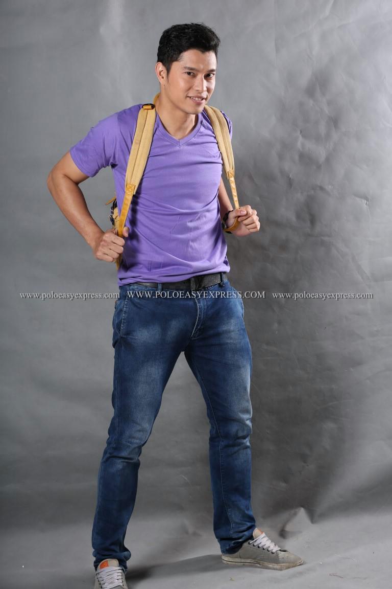 S เสื้อยืด สีม่วงอ่อน คอวี แขนสั้น Size S