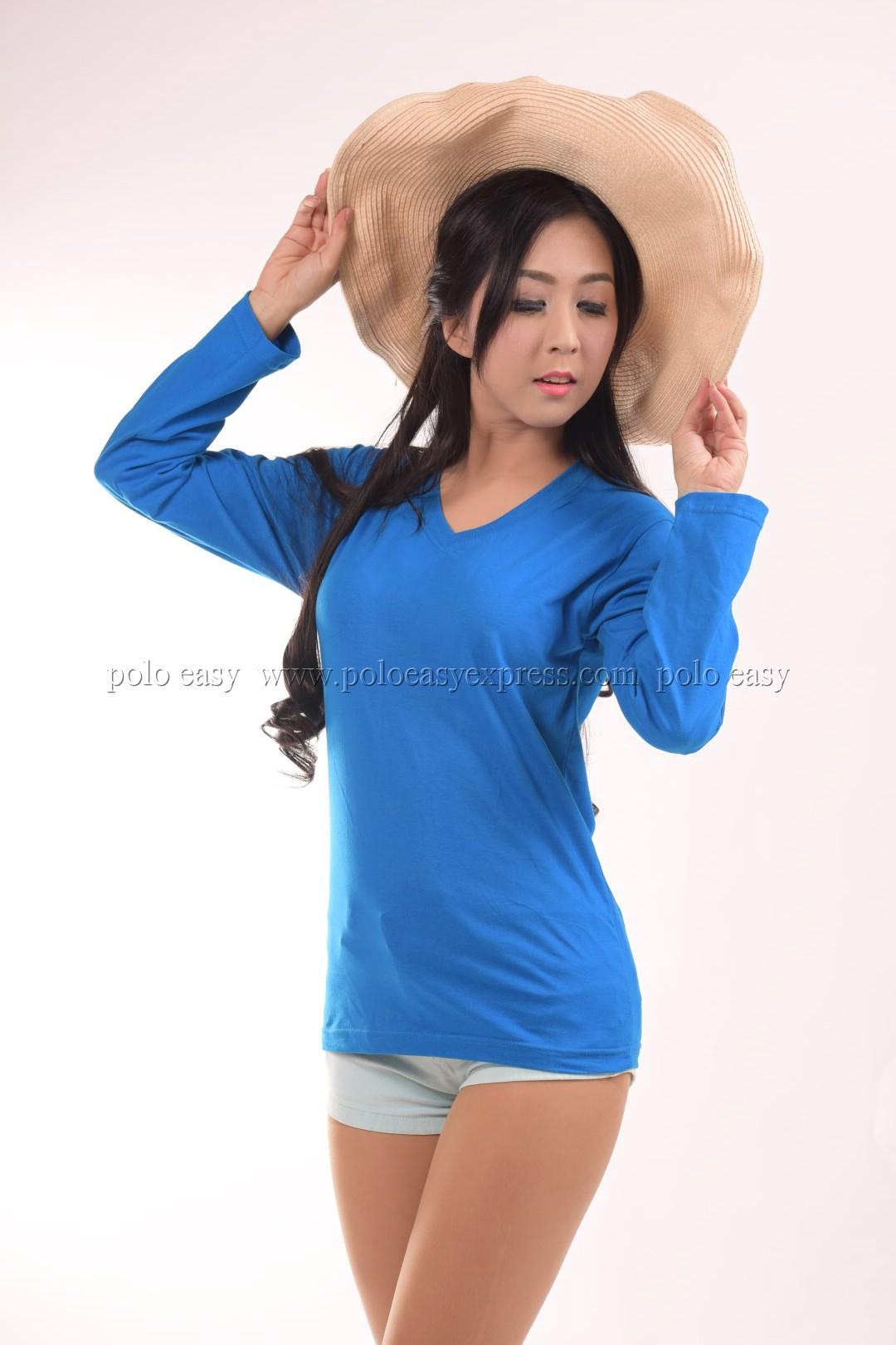 เสื้อยืด สีฟ้าทะเล คอวี แขนยาว Size M