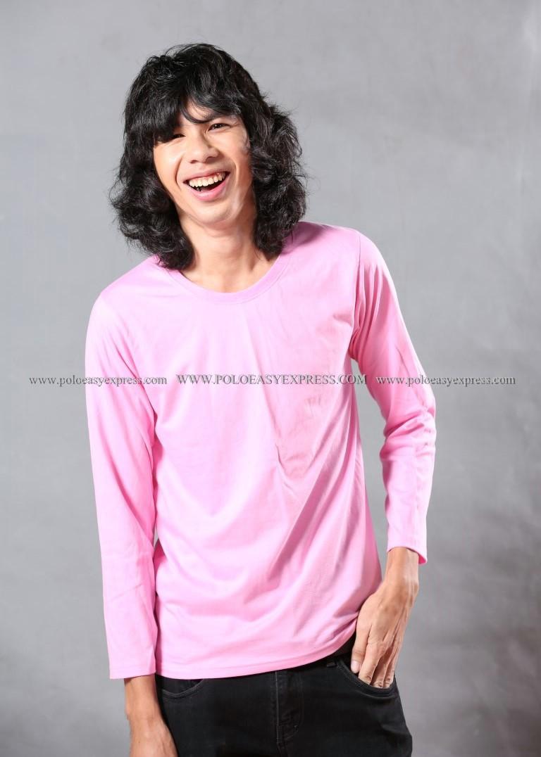 เสื้อยืด สีชมพูอ่อน คอกลม แขนยาว Size 2XL สำเนา