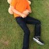 เสื้อยืดเด็ก สีส้ม คอกลม แขนสั้น Size M สำเนา