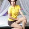 S เสื้อยืด สีเหลือง คอกลม แขนสั้น Size S