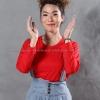 เสื้อยืด สีแดง คอกลม แขนยาว Size S สำเนา