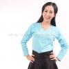 เสื้อยืด สีฟ้าอ่อน คอวี แขนยาว Size 4XL
