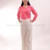 เสื้อยืด สีชมพู Sweety คอวี แขนยาว Size M