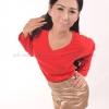 เสื้อยืด สีแดง คอวี แขนยาว Size L สำเนา