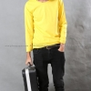 เสื้อยืด สีเหลือง คอกลม แขนยาว Size XL