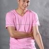 4XL เสื้อยืด สีชมพูอ่อน คอวี แขนสั้น Size 4XL สำเนา