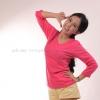 เสื้อยืด สีชมพู Pinky คอวี แขนยาว Size 2XL