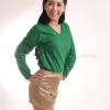 เสื้อยืด สีเขียวใบไม้ คอวี แขนยาว Size 2XL