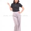 เสื้อโปโล สีดำ TK Premium แขนสั้น ทรงเว้า (หญิง) Size M