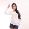 เสื้อยืด สีขาว คอวี แขนยาว Size S