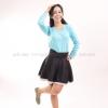 เสื้อยืด สีฟ้าอ่อน คอวี แขนยาว Size 3XL
