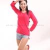เสื้อยืด สีชมพูบานเย็น คอวี แขนยาว Size S