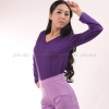 เสื้อยืด สีม่วงเข้ม คอวี แขนยาว Size 4XL