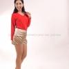 เสื้อยืด สีแดง คอวี แขนยาว Size M