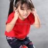 เสื้อยืดเด็ก สีแดง คอกลม แขนสั้น Size L สำเนา
