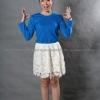 เสื้อยืด สีฟ้าทะเล คอกลม แขนยาว Size M
