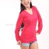เสื้อยืด สีชมพูบานเย็น คอวี แขนยาว Size 2XL