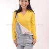 เสื้อยืด สีเหลือง คอวี แขนยาว Size M