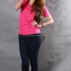 M เสื้อยืด สีชมพู Pinky คอวี แขนสั้น Size M