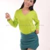 เสื้อยืด สีเขียวมะนาว คอวี แขนยาว Size L