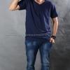 3XL เสื้อยืด สีกรมท่า คอวี แขนสั้น Size 3XL