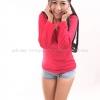 เสื้อยืด สีชมพูบานเย็น คอวี แขนยาว Size XL