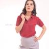เสื้อโปโล สีเลือดหมู TK Premium แขนสั้น ทรงเว้า (หญิง) Size S