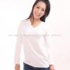 เสื้อยืด สีขาว คอวี แขนยาว Size 3XL