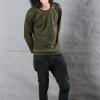 เสื้อยืด สีเขียวขี้ม้า คอกลม แขนยาว Size 4XL
