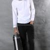 เสื้อยืด สีขาว คอกลม แขนยาว Size XL