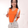 เสื้อยืด สีส้ม คอวี แขนยาว Size 3XL