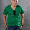 3XL เสื้อยืด สีเขียวใบไม้ คอวี แขนสั้น Size 3XL