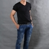 3XL เสื้อยืด สีดำ คอวี แขนสั้น Size 3XL