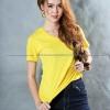 S เสื้อยืด สีเหลือง คอวี แขนสั้น Size S