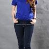 M เสื้อยืด สีน้ำเงิน คอวี แขนสั้น Size M